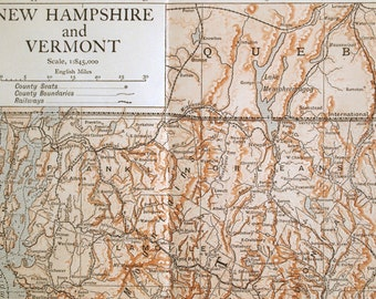 1911 Antique Map of New Hampshire and Vermont - Antique New Hampshire Map - Antique Vermont Map