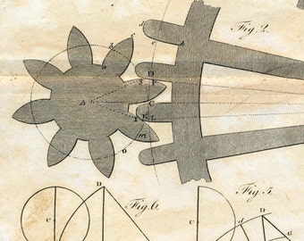 1806 Rare Antique Copper-engraved Print of Gears 2