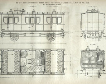 1878 Large English Antique Engraving of a First-Class Carriage, Eastern Railway of France