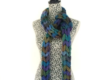 Long Chunky Rope Scarf, Knit Mens Scarves, Womens Scarves, Big String Scarf in Purples, Blues and Greens