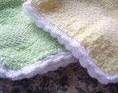 Crochet Trimmed Washcloth - Set of 2 - Lime Green and Yellow Face Cloth