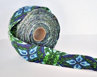 "Huge Roll of Vintage Blue, Light Blue and Green Patterned Sewing Trim 3"" Wide NOS"