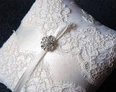 Ring Bearer Pillow - Light Ivory Lace Ring Pillow With Light Ivory Panel and Rhinestones - Blair
