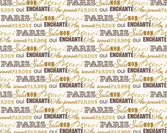 COUPON CODE SALE - Riley Blake, Paris & Company, Words, Gold, Minds Eye, 100% Cotton Quilt Fabric, Quilting Fabric