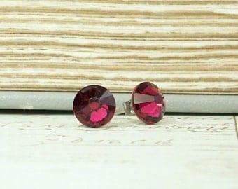 Ruby Stud Earring Crystal Stud Earrings July Birthstone Ruby Studs Ruby Crystal Studs Surgical Steel Studs