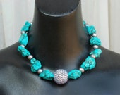 Chunky Western Cowgirl Necklace in Turquoise and silver pearls