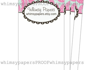 Pink Paisley Display cards - Choice of sizes and quantities - Optional double-sided print