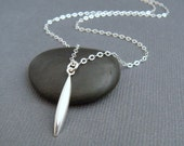 """small silver spike necklace. simple line jewelry. geometric modern puffed bar. everyday necklace. minimalist. sterling. gift for her 7/8"""""""