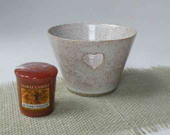 Stoneware Heart Candle Holder with Candle, Home Gifts, Speckled White Gift for Her