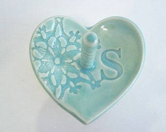 Ceramic Engagement Ring dish, ring holder, gift for bride Personalized gift dish, Bridal shower gift