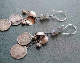Dangle Earrings Sterling Silver Labradorite Vintage Coins