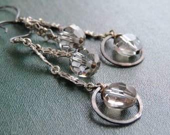 Antique Sterling and Crystal Dangle Earrings   Antique and Vintage Assemblage