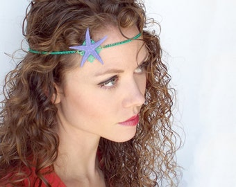 Ariel Mermaid Circlet with Pale Purple Starfish and Green Chain