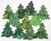 Five Fabric Pine Trees Applique Iron-Ons Batik Christmas or Winter Decor - Sold in Sets of 5