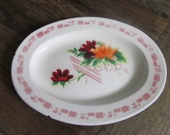 Vintage enamelware serving platter