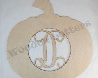 Wooden Pumpkin with Monogram Insert