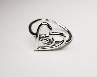 READY TO SHIP-Silver Heart Knot Ring