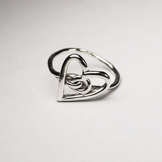 SALE-Silver Heart Knot Ring