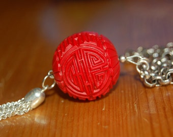 Fantastic Red Chinese Tassel Necklace