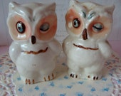 Vintage Hand Painted Kitsch Show Stopper Owls Salt and Pepper Shakers Farmhouse Decor