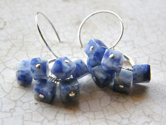 RESERVED FOR kr41600 - Navy Blue Earrings, Sodalite Earrings, Blue and White Earrings, Denim Earrings