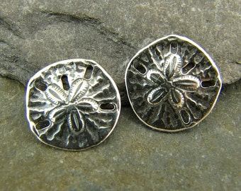 Sterling Silver Charms - Itty Bitty Little Sterling Silver Sand Dollar Charms - One Pair - ciblsd