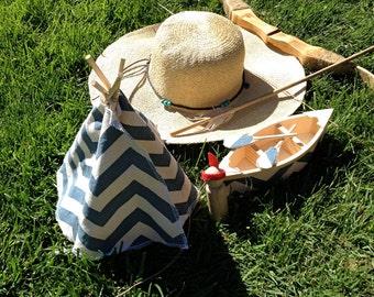 Summer Camp/ Native American Zigzag Playset- canoe, paddles, teepee, camper