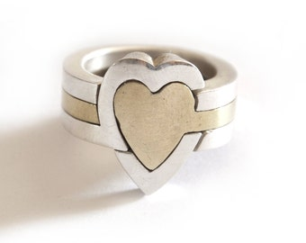 Heart puzzle ring    3 Piece     Sterling silver & Brass    Unisex    gifts for her    artistic jewelry    Hand made in israel   