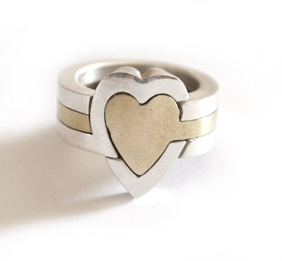 Heart puzzle ring || 3 Piece ||  Sterling silver & Brass || Unisex || gifts for her || artistic jewelry || Hand made in israel ||