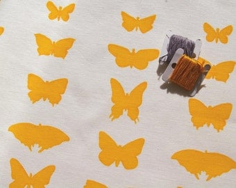 butterflies - handprinted fabric panel, yellow on white cotton or linen / cotton blend
