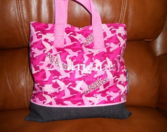 Duck Dynasty in Pink Child Tote / Book Bag / Organizer / Overnight Bag / Embroidered / Decorative Piping