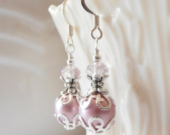 Pink Bridesmaid Jewelry, Pink Pearl Earrings, Wedding Jewelry, Bridesmaid Set, Beaded Earrings,  Bridesmaid Earrings, Pink and Silver