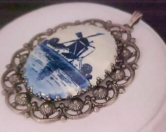 DELFT ~ Porcelain Antiqued Silver Plate Open Workmanship Pendant