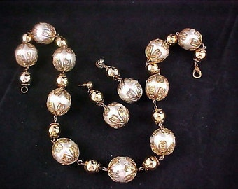 Vintage Massive Imitation Glass Pearls & Filigree Gilt Gold Caps ~ Gold Plate Bead Demi ~ Necklace and Post Earrings