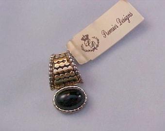PREMIER DESIGNS~ Original Tag ~ Gold plate & Black Art Glass Cabochon Pendant