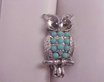 Charming Turquoise Stone & Red Rhinestone Eyes OWL Brooch/Pin
