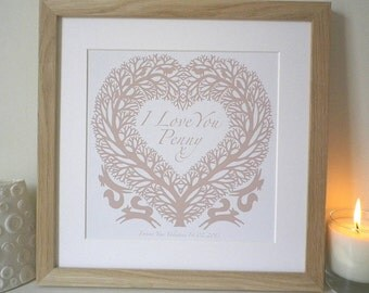 Romantic Folk Art Inspired I Love You Treeheart Print