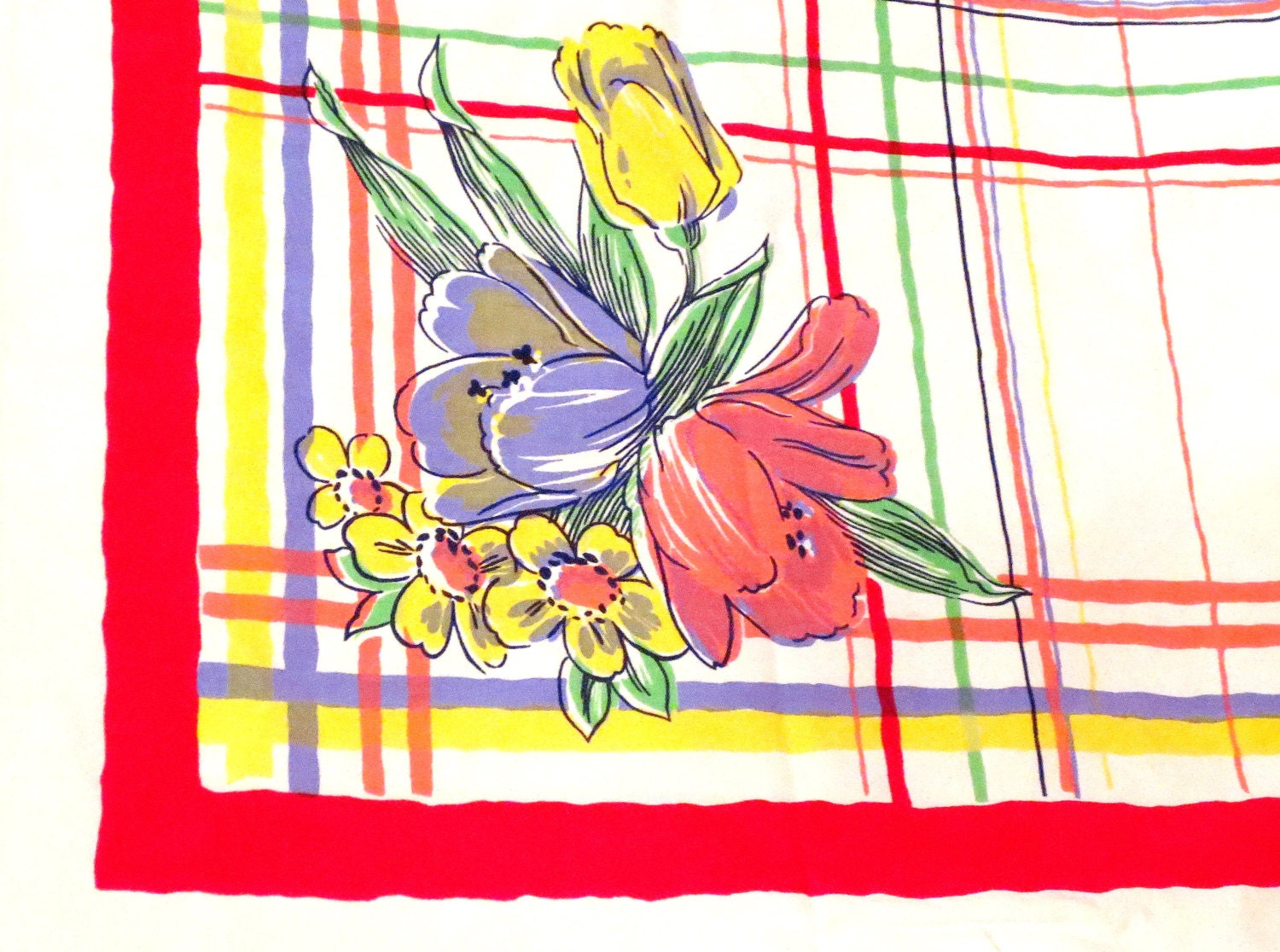 Vintage Tablecloth Square Red Plaid Floral White Green Yellow Blue Flowers Lilies White Edge - 50 x 50in