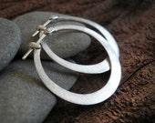 Silver Hoops Earrings, Flat Hoops, Classic Design, 925 sterling silver hoops.