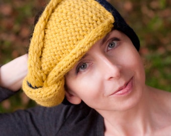 KnitKnot Headband - handknit knotted earwarmer two tone color-blok chunky knitted headband with giant knot Citron Navy or CHOOSE YOUR COLORS