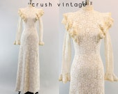 70s Dress Crochet Wedding XS / 1970s Lace Maxi Dress /  Bohemian Rhapsody Wedding Gown