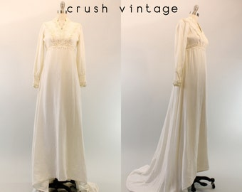 60s Wedding Dress Velvet Gown XS / 1960s Dress Wedding Gown/  Velveteen Rabbit Dress