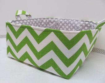 "Diaper Caddy - Fabric Storage Basket - 11""x11"" Organizer Bin - Storage box - Diaper Bag - Baby Gift - Nursery Decor - Green Chevron Zigzag"