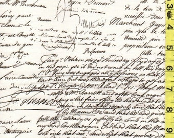 Fabric Michael Miller OLD SCRIPT Black on cream cursive antique writing