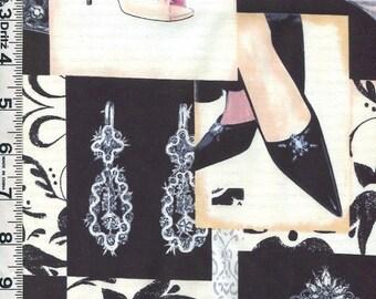 Fabric VIP Fashionista Accessories Perfume Tiara gloves Heels COLLAGE 37423 BTY