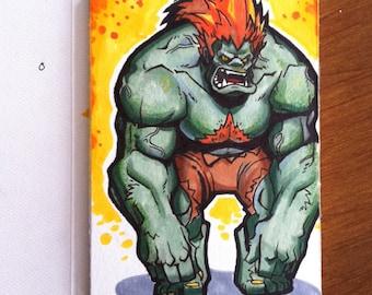 """Blanka - Street Fighter II  Marker Sketch Card - 4""""x6"""""""