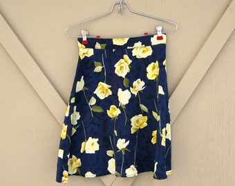90s vintage High Waist Mottled Navy Blue and Black Sheer Skirt with Yellow Rose Print