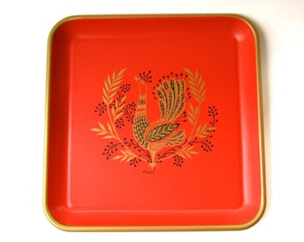 Mid Century vintage Maxey Red and Gold Stylized Peacock and Foliage Design Square Metal Serving Tray