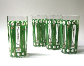Mid Century vintage Golf Drinking Glasses or Barware Glasses / Set of 4