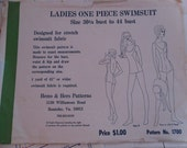 Vintage Ladies One Piece Swimsuit Size 301/2 Bust to 44 Bust by Hems and Hers Patterns, Pattern No. 1700 For Starch Swimsuit Fabric